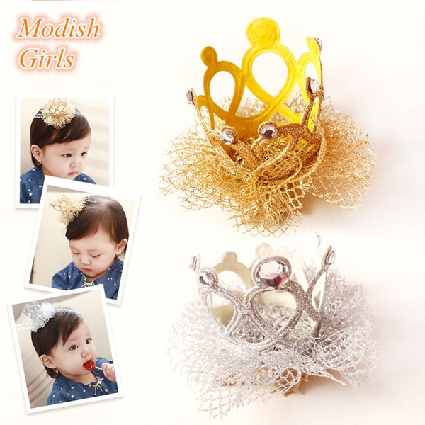 Nueva Llegada de Calidad Superior GlitterBaby Girls Crown Barrettes Tiara Side Hair Clip Princesa Crown con Glitter Tulle Oro Plata Noble Clip de Pelo