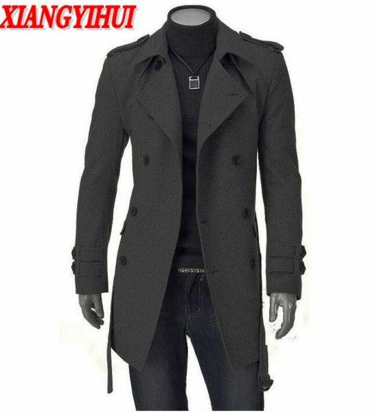 Atacado-Longo Trench Coat Men Casaco de Inverno Homens Jaqueta 2017 Blusão de Lã Sólida Preto Trench Coat Homens Lã Estilo Inglês Traje