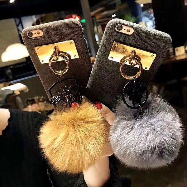 For iphone 6 6s 7 8 plus X Korea Cute Fashion Rhinestone Bee fox fur pompom Pure color fiber soft phone case cover
