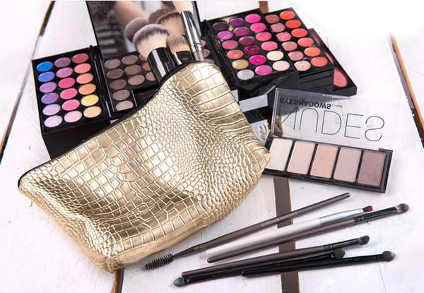 Großhandel Alligator Gold Leder Make-up Tasche Heißer Verkauf Kosmetiktaschen trousse de Toilette Make-up Tasche Frauen Reiseveranstalter