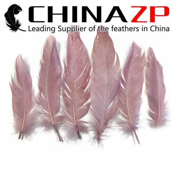 Newest Plumage CHINAZP Crafts Factory 100% Exporting 10~15cm(4~6inch) Length Pretty Dyed Taupe Goose Loose Feathers for Hair Accessories