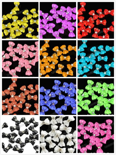 top popular 3D DIY Nail Art Glitters Bow Tie Bowtie Bowknot sticker Acrylic Slices Rhinestones Tips 12 Colors for choose 1000pcs 2019
