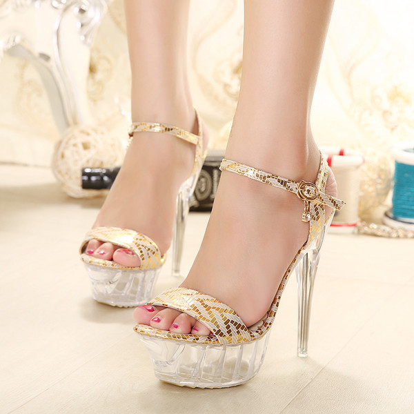 Plus Size 40 41 42 43 Party Evening Crystal Silver Gold Wedding Shoes Women Sexy High Heel Sandals 2 colors