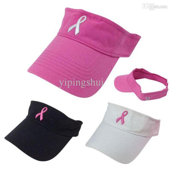 Wholesale-Hot 2019 New Pink Ribbon Breast Cancer Awareness Visor Summer Men Women Golf Sports Visor Cap White Black Pink Free Shipping