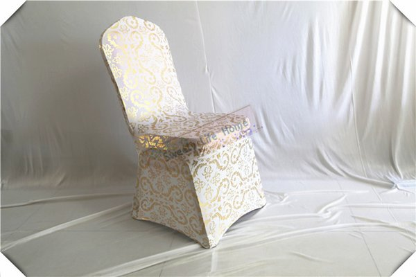 free shipping 50pcs Bronzing Spandex chair covers and printing wedding chair seats/Gilding lycra banquet chair cover
