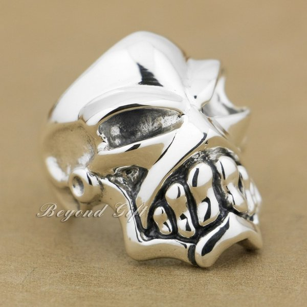 925 Sterling Silver Huge & Heavy Skull Mens Biker Rocker Ring 9Q010 US Size 8~14 Free Shipping