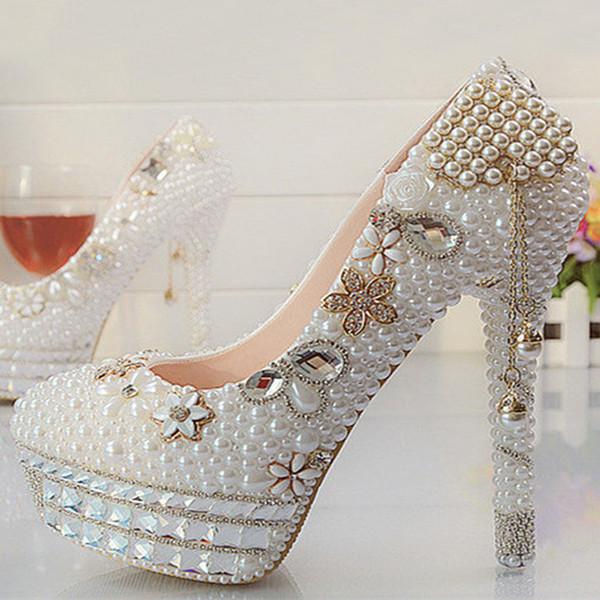 Güzel Vogue Kristaller ve Inci Yüksek Topuklu Düğün Gelin Ayakkabıları Kadın Parti Balo Elbise Ayakkabı
