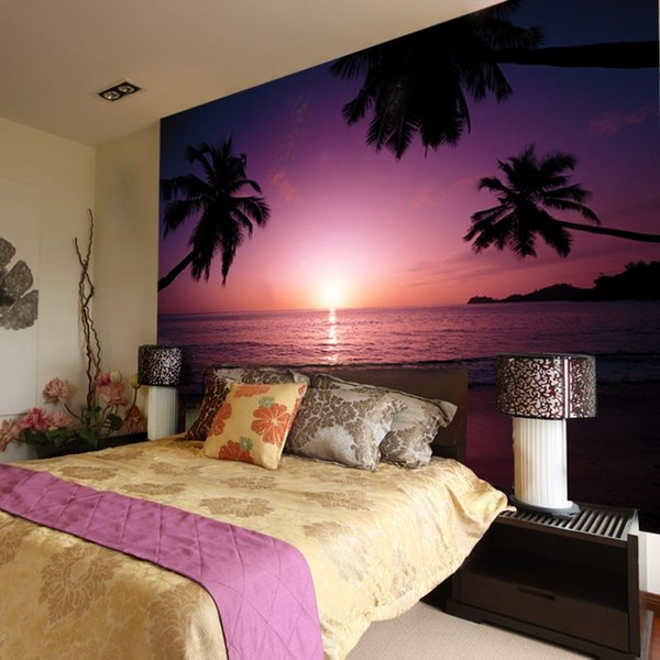 Free Shippinglarge Murals Real Shooting Seascape Beach Sunset 3d Stereo