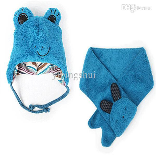 Wholesale-Kids Animal Cap Cute Frog Hat+Scarf 2 Pcs Set Baby Children Cashmere 1-6 Years