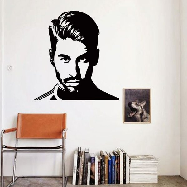 Art Wall Sticker cheap vinyl home decoration football Sergio Ramos wall sticker removable house decor soccer player wall decals