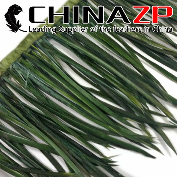 CHINAZP Crafts Factory Wholesale Price 10yards/lot 15~20cm(6~8inch) in Width Olive Green Dyed Goose Biots Feather Trim Fringe