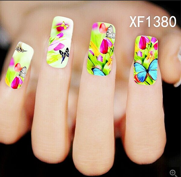Xf1380 Water Transfer Nail Decals Purple Flower Designs Watermark