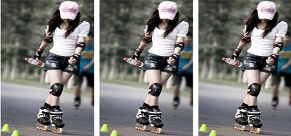 Al por mayor-Wrist Knee Protector Set Adultos patinaje Rodilleras Protección del codo 6 en 1 Almohadillas Set Safety H063 #