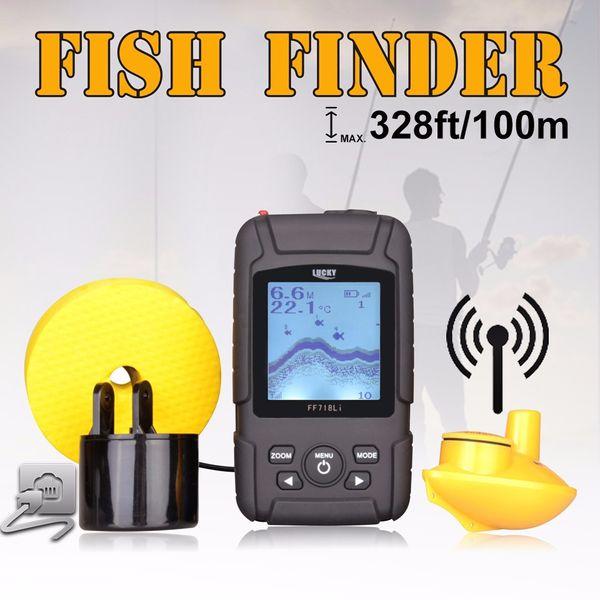 100m depth LCD Waterproof Sonar boat Fish Finder Wireless Sonar Sensor + Wired Transducer 2 in 1 Fishfinder Kit Muti-language fishing alarm