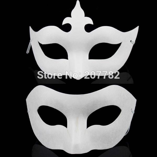 All'ingrosso-Bianco Viso non dipinto Plain / Blank Version Pasta di carta Maschera fai da te Masquerade Masque