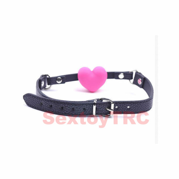 Heart Shape Mouth Open Ball Gag Gagging Device Silicone Adult SM Fetish Restraint Bondage Harness Strap Cuffs New Design Sex Play Toys