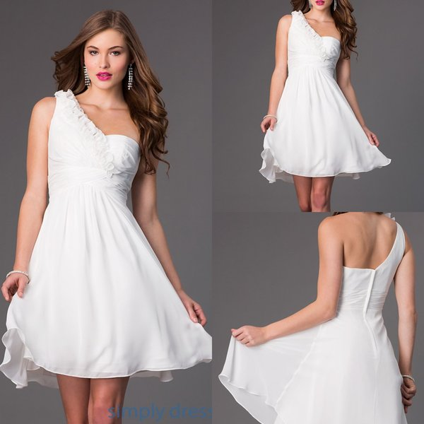 2015 Simple Graduation Dress For College One Shoulder Sleeveless Mini Short  A Line Cheap Plus Size White Chiffon 8th Grade Graduation Gowns Short ...
