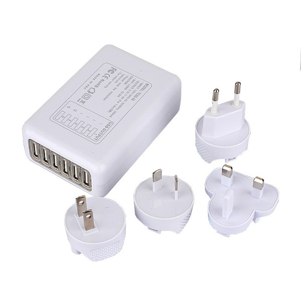 6 Port USB AC Adapter US/EU/UK/AU Plug Tablet Cell Phone Wall Charger Universal for iphone 6s 5s Samsung S6 ipad HTC Blackberry