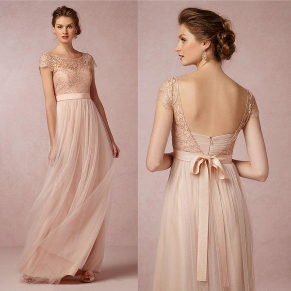 2019 New Arrival Long Bridesmaid Dress Blush Pink Scoop Short Sleeves Lace Tulle Maid of Honor Wedding Party Dress
