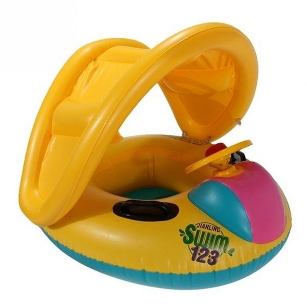 top popular Baby Swim Float Swim Car Boat With A Trumpet Child Sun-shading Boat Swimming Toys 2019