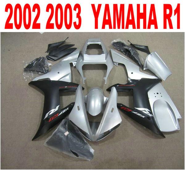 Kit de carenado personalizado gratis para molde de inyección YAMAHA YZF-R1 2002 2003 carenado de carrocería negro plata mate yzf r1 02 03 HS96