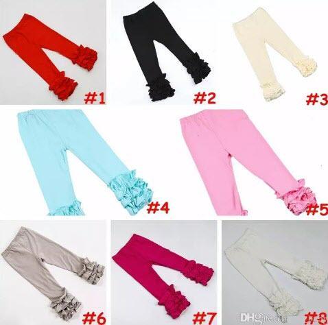 leelee_709 / 14 cores Meninas Plissado Ruffle Leggings Bebê cor sólida calças plissado delicado aqua rosa Multi-Layer leggings capris 6 tamanho