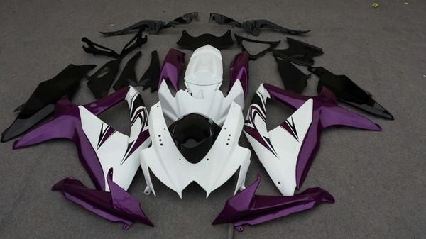 Set de carenados de inyección para 2008 2009 SUZUKI GSXR600 750 GSXR 600 GSXR750 K8 08 09 púrpura blanco Carenado cuerpo kit + regalos SE40