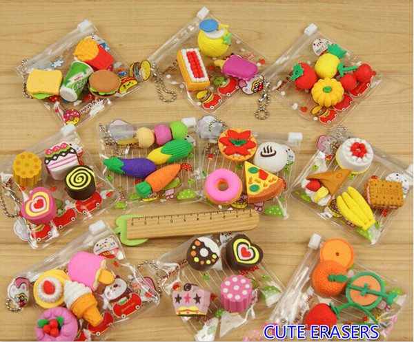 Free EMS DHL 100 Sets (100 Packs) Mixed Fresh Fruit Eraser Food Cake Eraser Cartoon Animal Rubber Pencil Eraser With Nice Bag Christmas Gift