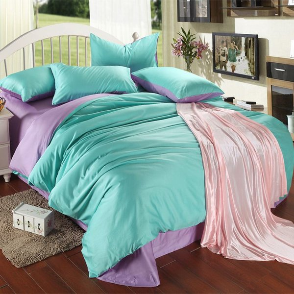 Luxury purple turquoise bedding set king size blue green duvet cover sheet queen double bed in a bag quilt double linen bedsheets gift