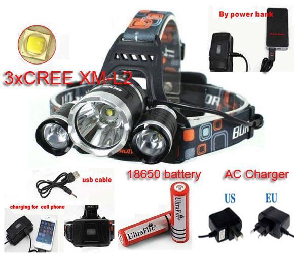Boruit 6000LM CREE XML 3xT6 LED Headlamp RJ-5000 Headlight 4 Mode Head Lamp+AC Charger+2*18650 battery outdoor Sport