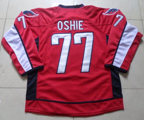 Novas camisolas de hóquei capitais # 77 Jersey Oshie cor vermelha mais novo tamanho de alta qualidade 48-56 ordem de mistura costurado