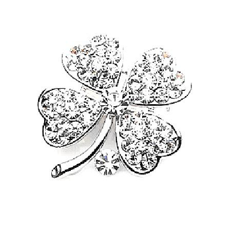 Free Shipping ! Top Qulity ! Gold Plated Mix Color Rhinestone Crystal Small Clover Leaf Flower Pin Brooch