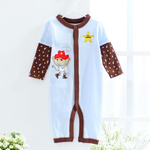 2017 New Retail ittle monkey Baby Rompers Baby Children Pajamas Baby Clothes long sleeve Newborn Sleepwear Bodysuits One-piece Romper