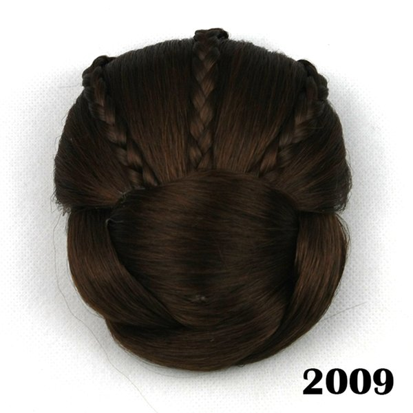 hanzi_beauty new Soloowigs Heat Resistant Fiber 6 Colors Women Clip-in Braided Chignon Synthetic Hair Buns for Brides
