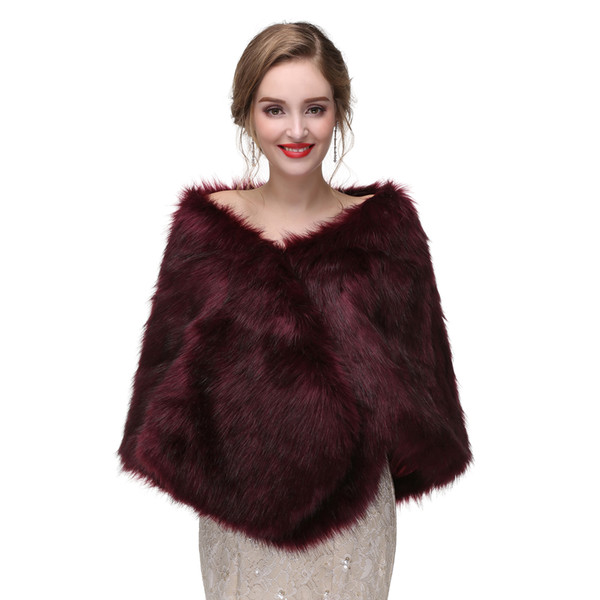 New Arrival Burgundy Winter Wedding Accessories Fur Wedding Jacket Bridal Wrap 3 Colors Women Wedding Cape