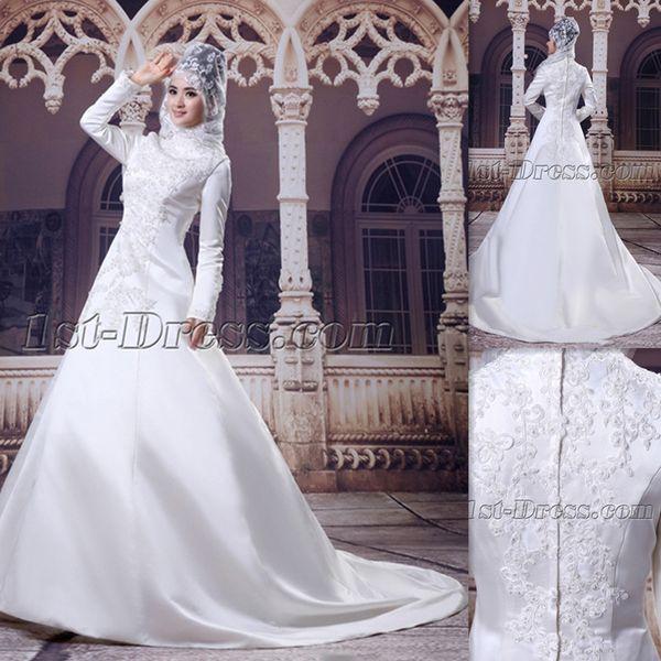 Muslim Hijab High Neck Wedding Dresses Ivory Satin Long Sleeves 2015 Bridal Gowns Islamic Dress For Brides