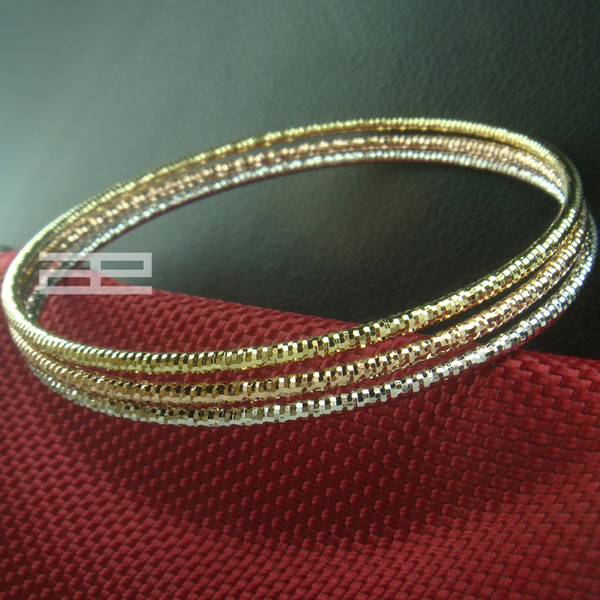 Elegante 14k rosa amarelo ouro branco CHEIO SET Bangle G92
