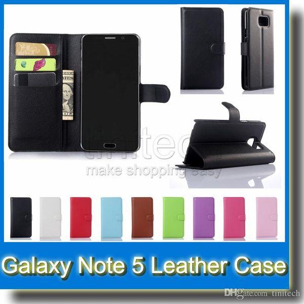 Para Galaxy Note5 Note 5 Litchi Skin Flip Tarjeta monedero Soporte de cuero Funda Funda Fundas de plástico para Samsung Galaxy Note3 Note4
