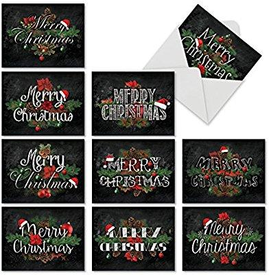 Christmas Sentiments For Cards.Christmas Note Cards Featuring Merry Christmas Sentiments In A Chalk Typeface With Holiday Florals White Envelopes Prepaid Gift Cards Online Gifts