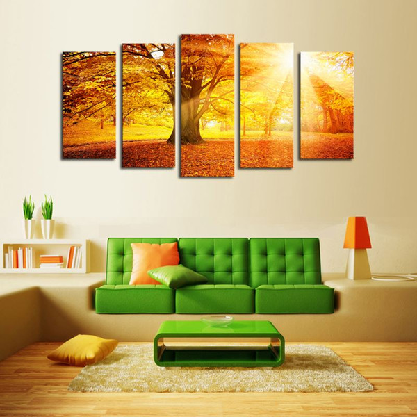 Luxry Unframed 5 Panels Sunset Trees View Picture Canvas Print Painting Artwork Wall Art Canvas painting Wholesale For Home Deco