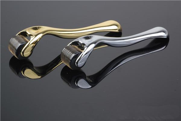 2015 New Arrival 540 titanium Dermaroller Silver & Gold Handle Derma roller 540 titanium needles derma care facial kit