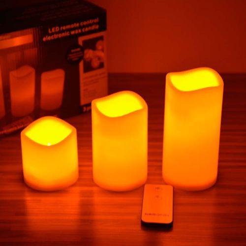 3pcs Telecomando senza fiamma 12 Set di candele luminose a cambiamento di colore Set di candele romantiche 7.5 / 12 / 15CM # Candle-3set