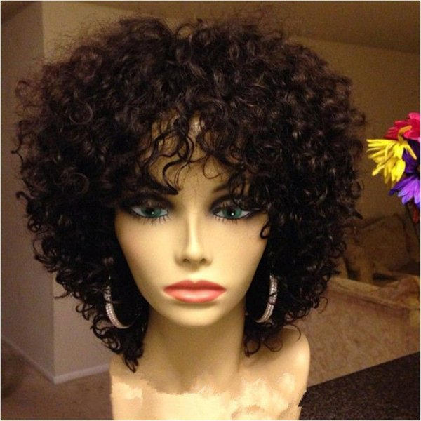 Curly Lace Front Human Hair Wigs For Black Women Short Unprocessed Brazilian Virgin Hair Full Lace Wigs Natural Color Dyeable 130% Density