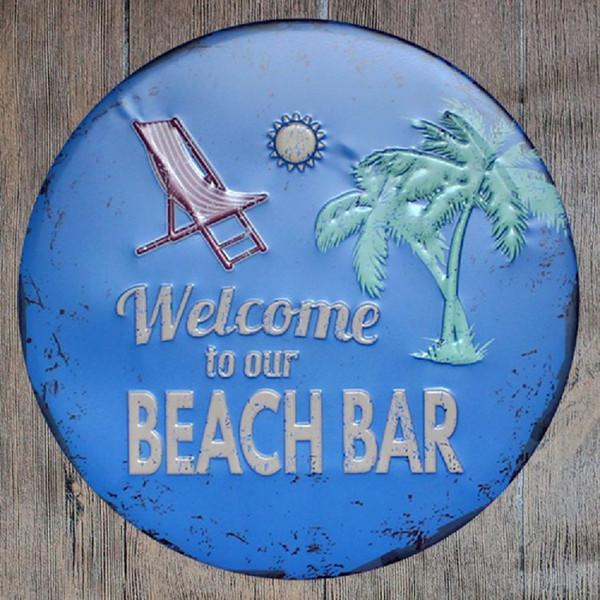 Bienvenido a nuestro bar de la playa Redondo Retro en relieve Cartel de chapa Cartel Bar de la pared Restaurante Garaje Pub Café Decoración del hogar Regalo de Navidad