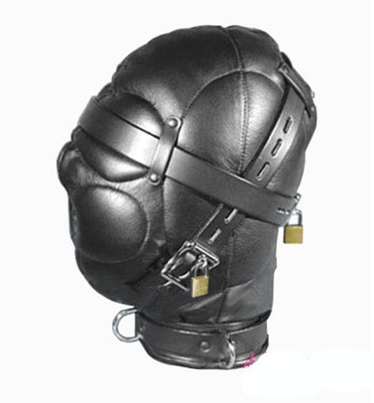 best selling Leather Sex Headgear sensory deprivation bondage hood hat with Locking Buckles Sex Headgear With Lock J1805