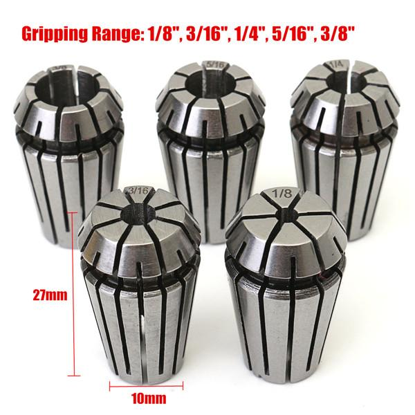 5Pcs 1/8 to 3/8 Inch Spring Collet Set for CNC Milling Lathe Tool