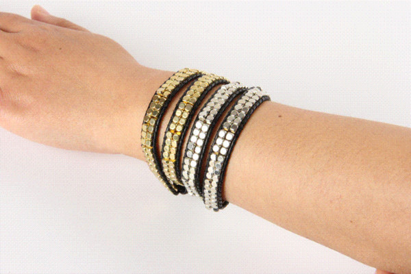 New Quality Ethnic 4 Strands Leather CCB Weave Wrap Bracelet for Women and Men Handmade Lifestyle Friendship Bracelets Jewelry