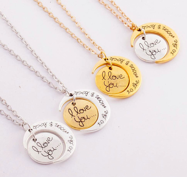 best selling 7Styles I Love You To The Moon and Back Necklace 20pcs lot Lobster Clasp Hot Pendant Necklaces