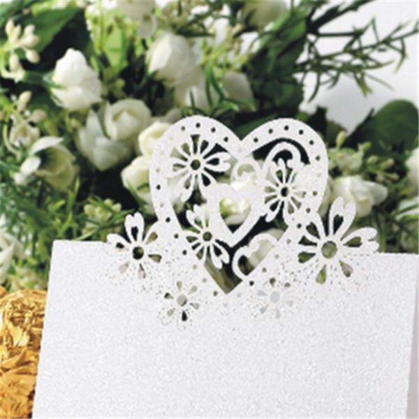 Wedding Invitation Cards wedding invitation kit 50pcs Name Place Card Love Heart Table Mark Wine Glass Wedding Party Decoration Heart-shaped