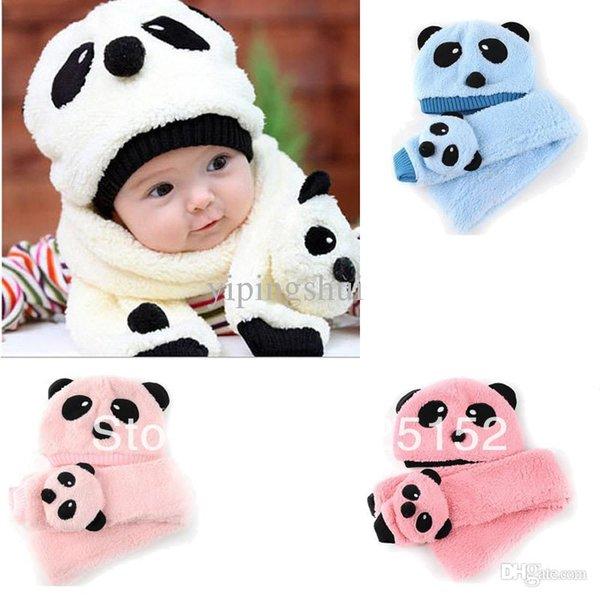 Wholesale-2pcs Toddler Infant Unisex Girl Boy Baby winter Kids Hat Cap Beanie+Scarf sets Panda Cartoon 1-5Y Headwear 4 color